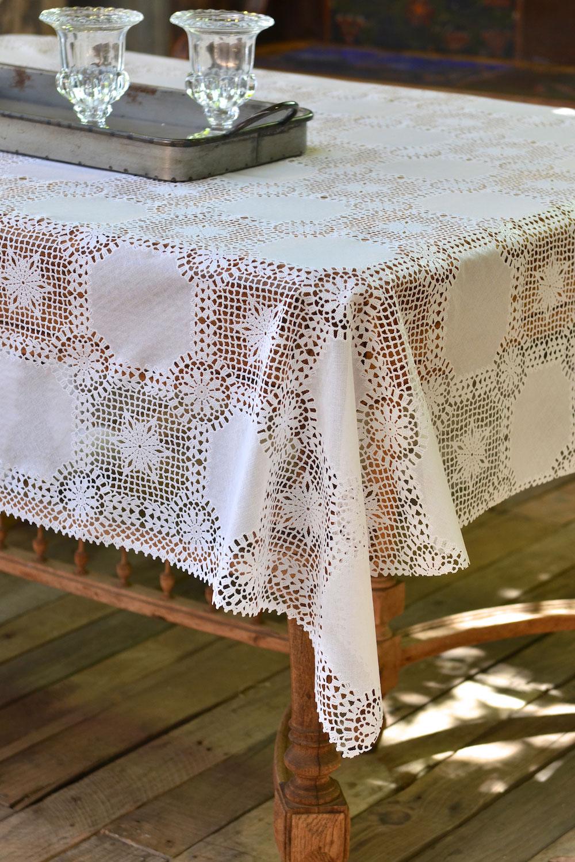 Vinyl Crochet Tablecloth Masquerade